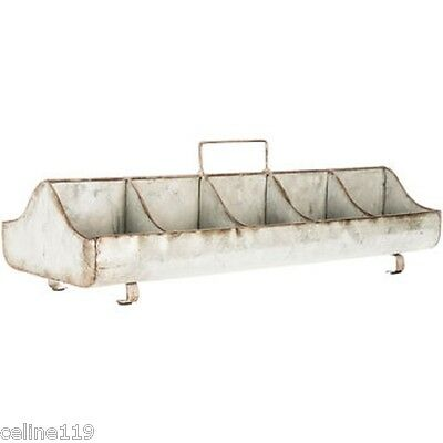 Galvanized Metal Tray with Handle New Decor 10 compartments Rustic Farm Decor