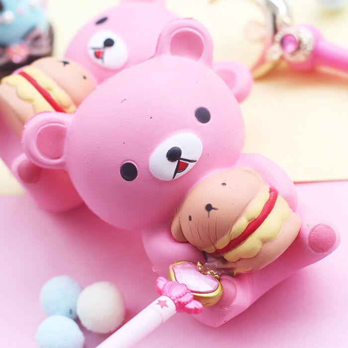 JUMBO Squishy Toy Pink Bear Hamburger HUGE PANDA ice cream S