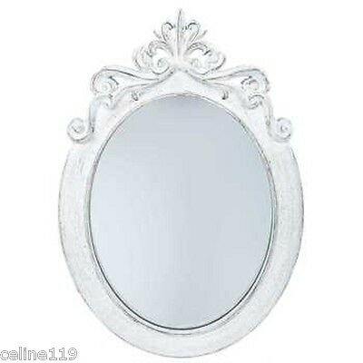"Munificent 23"" Distressed White Styrene Ornate Oval Mirror Shabby Chic Home Decor"