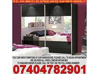 BRAND NEW Mirrored 2 Door Sliding Wardrob Shelves Hanging rails in Super High Gloss Finish