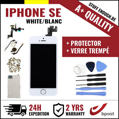 A+ LCD SCREEN SCHERM ÉCRAN ASSEMBLY WHITE + TOOLS & VERRE TREMPÉ FOR IPHONE SE