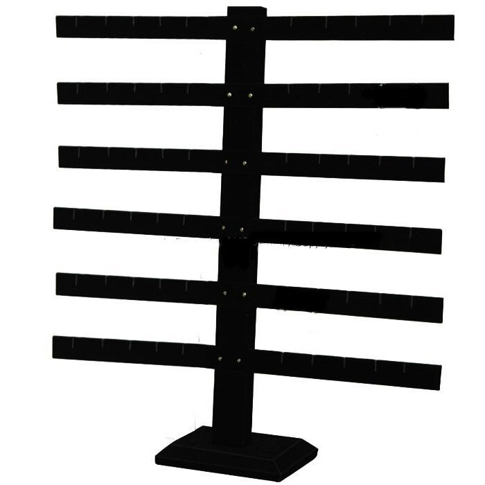 "6 Tier 6 Bar Black Earring Display Stand 14 1/8"" Wide x 15 1/8"" Tall"