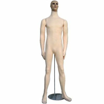 Mn-406 Soft Flexible Bendable Posable Male Body Mannequin Form W Realistic Face