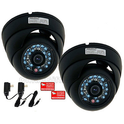 2x CCTV Outdoor Day Night Security Camera Color CCD Dome Infrared Wide Angle - 2 Outdoor Ccd Color Cameras