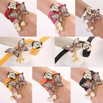 Womens Faux Pearls Rhinestone Butterfly Bracelet Watch Analog Quartz Wrist Watch