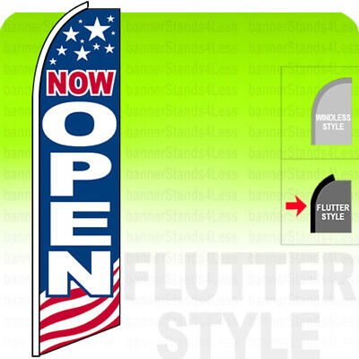 Now Open - Swooper Flag Feather Banner Sign 11.5 Tall Flutter Style Usa Bb