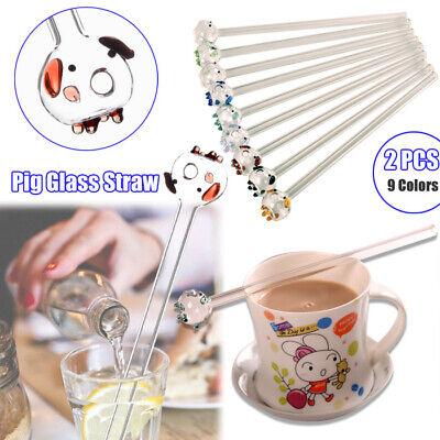 9 color Reusable Cute Pig Glass Drinking Straws Wedding Birthday Party Xmas &BOX - Cute Straws