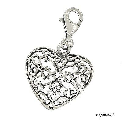 Antique Sterling Silver Filigree Heart Clip On Charm #94344 Sterling Silver Filigree Heart Charm