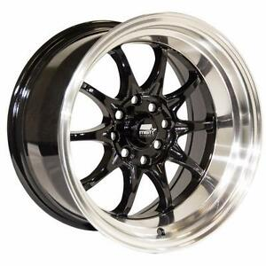 MST WHEELS MT11 15x8.0 0 4x100/4x114.373.1 Black w/Machine Lip