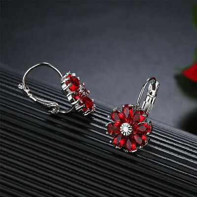 happy New Year Gift Flower Fire Red Garnet  Gems Silver Stud Hook Earrings - New Year Gift