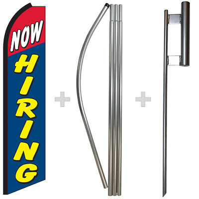 Now Hiring 15 Tall Swooper Flag Pole Kit Feather Super Bow Banner