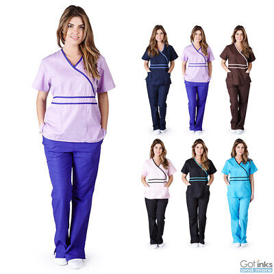 Womens Contrast Mock Wrap Medical Hospital Nursing Uniform Scrub Set Top & Pants