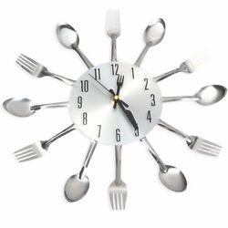 Kitchen Wall Clock Spoon Fork Modern Kitchen Design Home Decor Stainless Steel