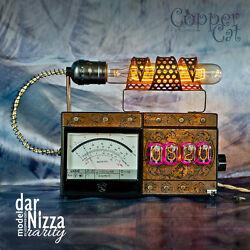 Nixie Tubes Steampunk Alarm Clock 4x IN-12 darNizza Rarity by Copper Cat