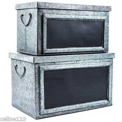 Country Farmhouse Galvanized Tin Box Set W Chalkboard Labels Home Organization