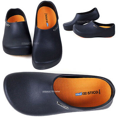 Men Chef Shoes Clog Non-Slip Safety Shoes Oil Water on safety Men US10 Black