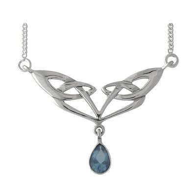 Brand New Gift 925 Sterling Silver & Blue Topaz Celtic Knotwork Drop Necklace