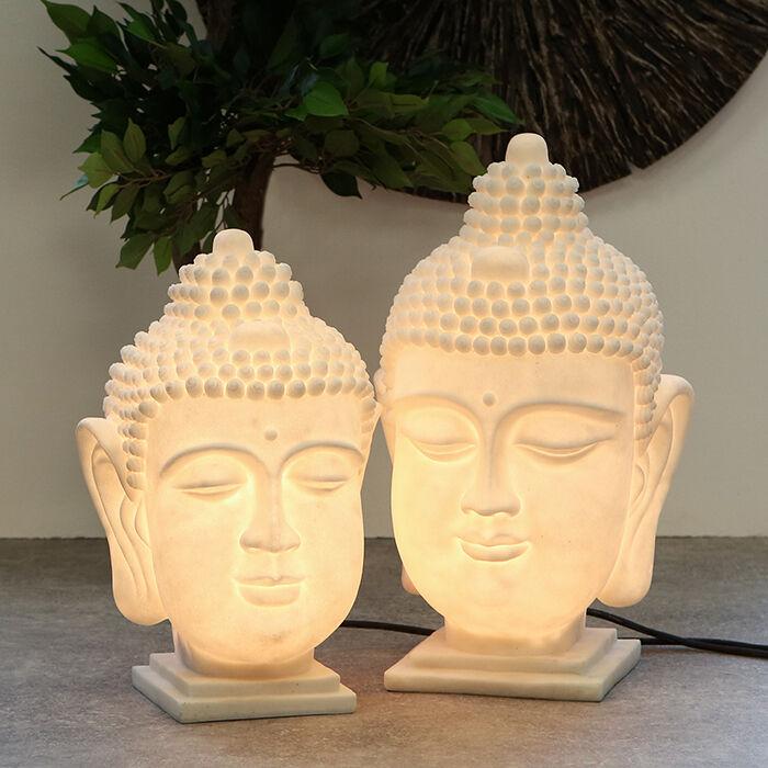 Garten Leuchte Buddhakopf Skulptur Deko Lampe H48 cm Foto rechts NEU