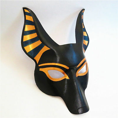 Handmade Leather Egyptian Anubis Dog Head Mask Half Face Cosplay Party Costume  (Egyptian Dog Costume)