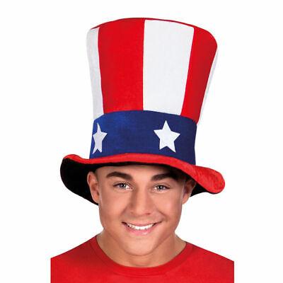 Hut USA Uncle Sam, Amerika Zylinder Plüschhut Karnevalshut Kostümzubehör