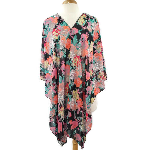 Zury Women's Swim Cover Up Sheer Floral Tunic One Size 100% Rayon Pullover