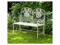 New garden metal bench or Tete A tete chair set only £79.99 each in sage or cream