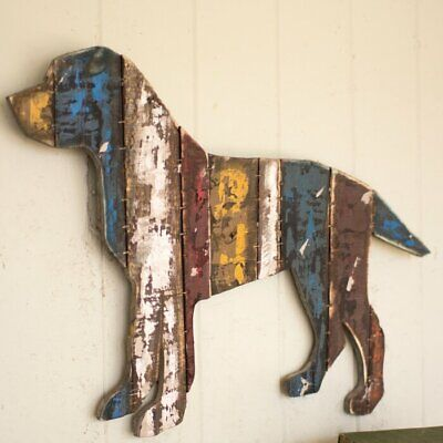 Rustic Wood Dog Wall Hanging Picture Reclaimed Wood Dog Wall Art Decor
