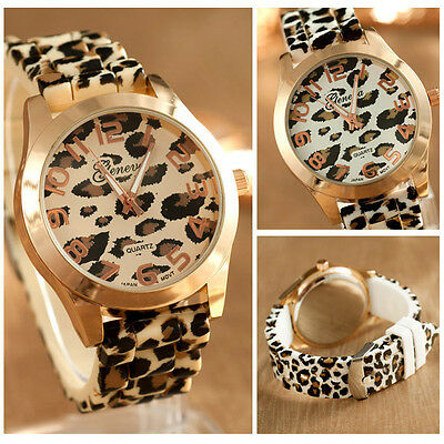 Fashion Unisex Leopard Silicone Jelly Gel Quartz Analog Wrist Watch