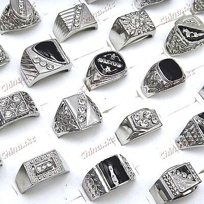 10pcs Wholesale jewelry lots Rhinestones Man's Silver Fashion Rings freeshipping