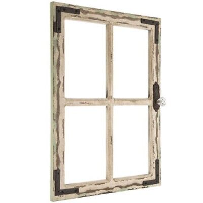Distressed Shabby Rustic Wood Antique White Window Wood Wall Decor Antique White Rustic Wood