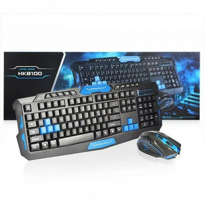 Gaming Keyboard HK8100 Wireless Keyboard & mouse 2.4GHz Black and blue detail