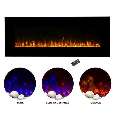 Trademark M029002 54 In. Electric Fireplace Wall Mounted LED Fire Ice Flame Wi - $344.16