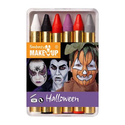 6 Schminkstifte für Halloween, Karneval und Kinderschminken in Schminkbox ()