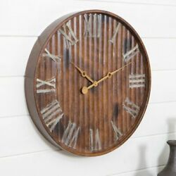 Large Farmhouse Wall Clock Iron Distressed Rustic Country Roman Numeral 20 inch