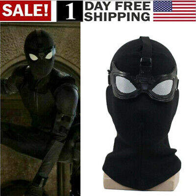 US! Spider-Man Far From Home Stealth Suit Mask Spiderman Black Cosplay Full Mask (Spiderman Mask Black)