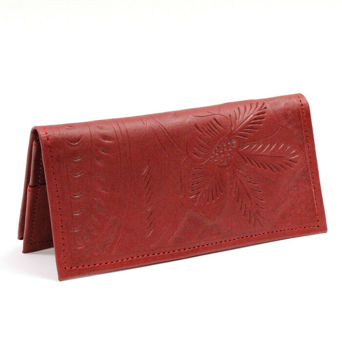 Leaders in Leather Hand Red Wallet Checkbook On Sale