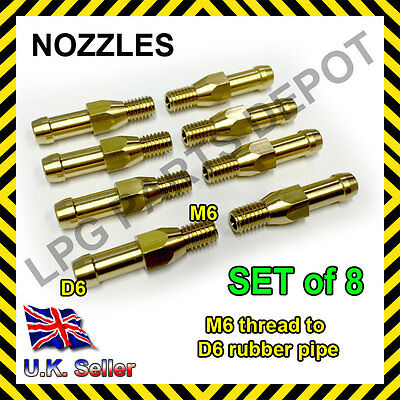 LPG GPL 8xD6 nozzles SET injector jets manifold screw vacuum Flow gas nipple fit
