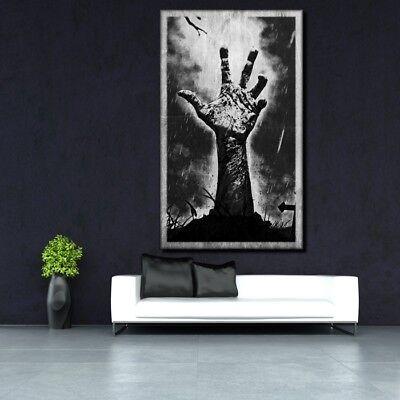 LEINWAND BILD ER XXL POP ART HAND ZOMBIE KREUZ TATTOO ABSTRAKT POSTER 150x90    ()