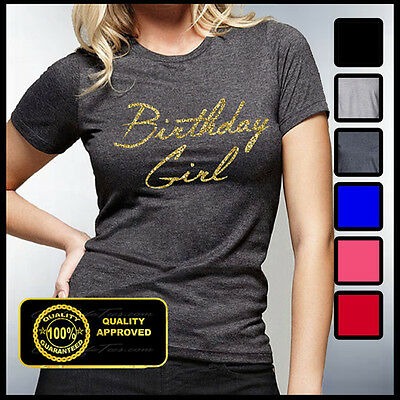 Gold Glitter Shirt (Birthday Girl Shirt, Gold Glitter Birthday Girl Tshirt, Women's Bday)