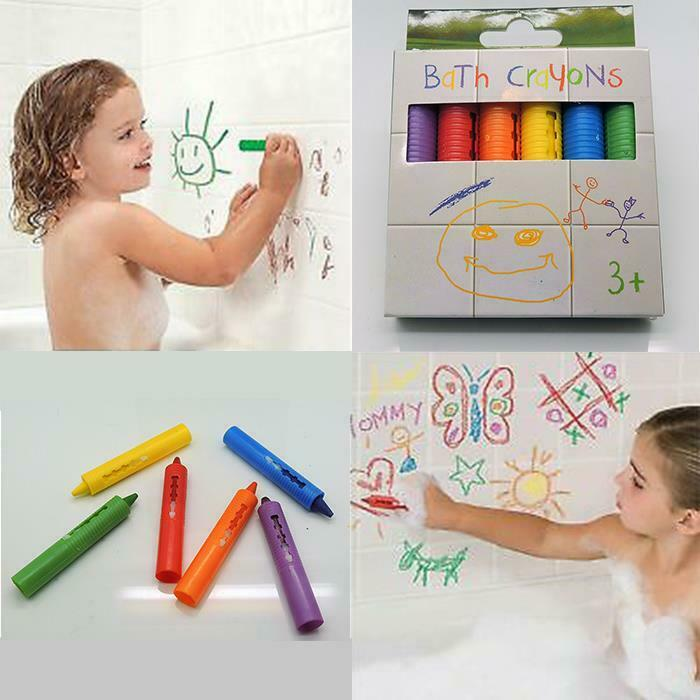 Bath Crayon set for kids - Fun No Mess 6 Colors Easy Cleanup