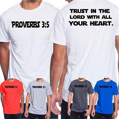 Mens Christian t-shirt Proverbs Bible Verse Jesus Christ Religion