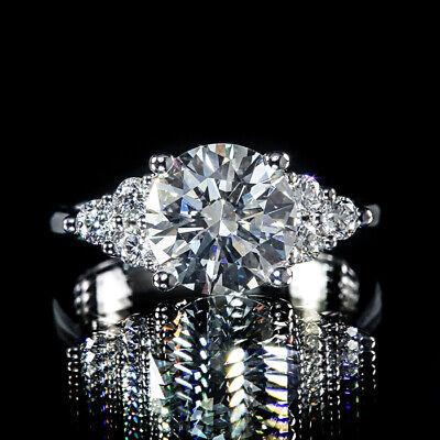 2.50ct Round GIA Diamond Cluster Trio Engagement Ring G/SI2 Euro Shank