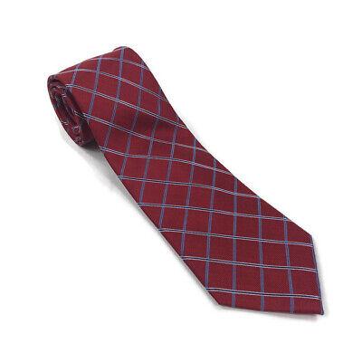 Club Room Mens Neck Tie Silk Red Blue Plaid Checks One Size Club Room Mens Silk Tie