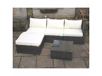 Outdoor Brown Rattan 4 Seat Corner Sofa + Footstool + Coffee Table Brand New in Box