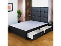 BRAND NEW BLACK/PLAIN DOUBLE OR SMALL DOUBLE DIVAN BED BASE WITH OPTION DRAWERS HEADBOARD & MATTRESS