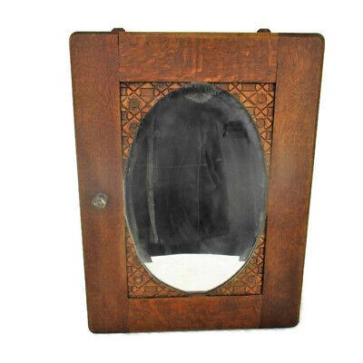 Vintage Kitchen Apothecary Medicine Bathroom Cabinet Oak Oval Beveled Mirror