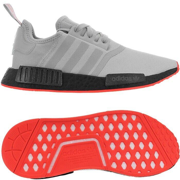 Adidas NMD_R1 grau rot Herren Low-Top Sneakers Canvas Running Boost NEU