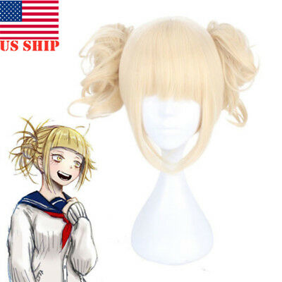 US!My Hero Academia Himiko Toga Light Blonde Ponytail Cosplay Wig CapCostumeProp](Toga Woman)
