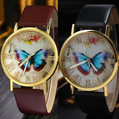 New Women Casual Watch Butterfly Style Dial Leather Analog Quartz WristWatches