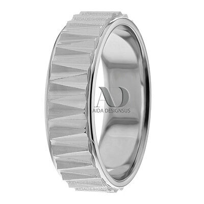 - Modern Comb Patterned His Hers Wedding Ring 10K Gold Flat Wedding Band 7mm Wide